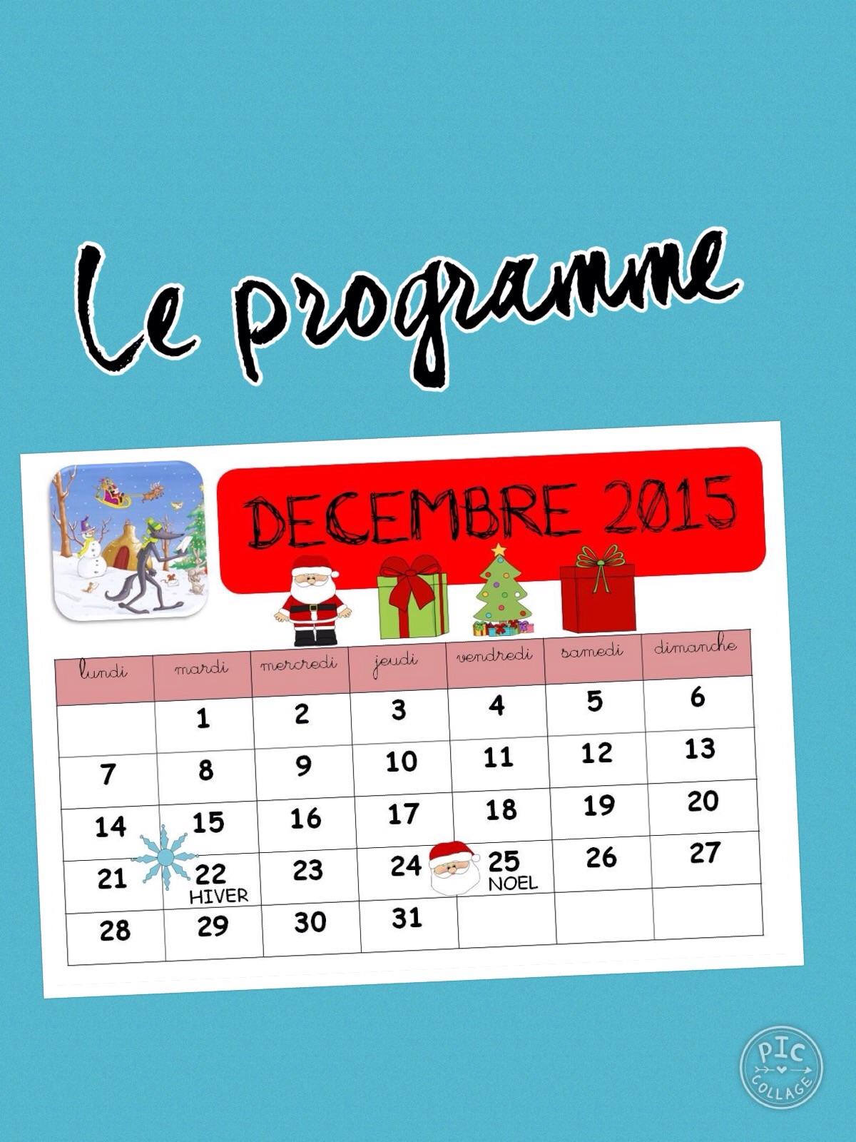 Le programme de décembre est arrivé  …. Enfin….!!!!