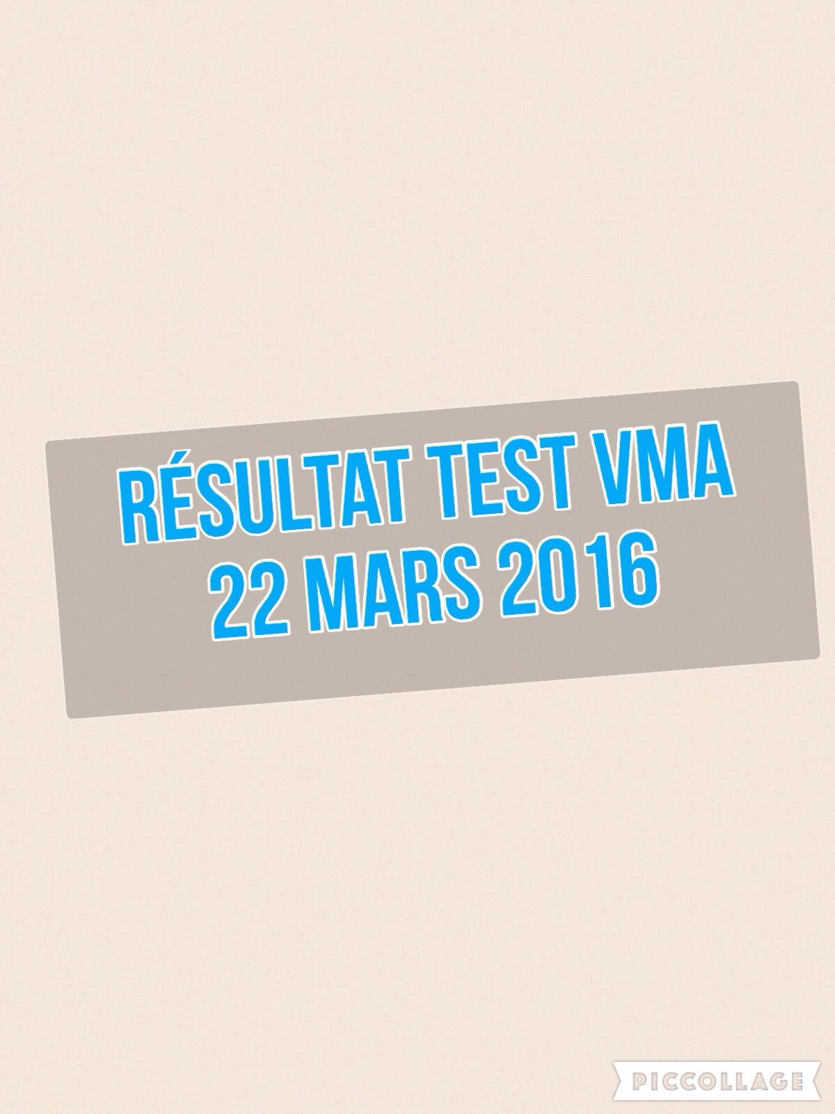 Résultat Test VMA du 22 mars 2016